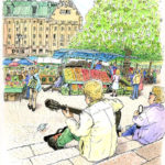 日曜日のストックホルム。どこに行こうか広場の石段に座って考える。男性がギターを弾き始める。穏やかな時間。八百屋のおじさんから苺を、右のおばちゃんじから飴を頂いた。