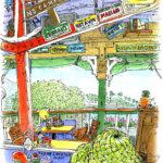 ラハイナのチーズバーガーのお店。柱や梁や天井板に所狭しと打ち付けられたナンバープレートやメッセージプレート。これは描くしかない。朝買った椰子の葉の帽子も描き入れて。 左にはギターの生演奏。右からは波の音。特大のコーラと共に。 Cheeseburger in Paradise, Lahaina, Maui