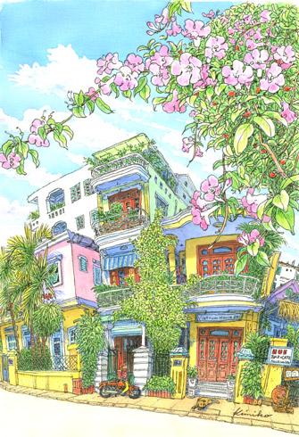 雨上がり、ぐんぐん気温が上がる。町中カラフルなペンキで塗られた建物が並ぶ。フランス風のバルコニーに中国風の窓枠が合わせてあったり、とてもチャーミング。バルコニーの窓が開いて誰かがこちらを見ている。雫の残る花の下で。