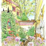 代官山、カフェ・ミケランジェロの奥の庭。コスモスが揺れるこの場所をひとり占め。なんて幸せな空間。秘密の花園。冷えてきたら銀のトレイで紅茶をサービスしてくださった