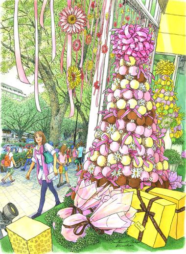 全紙を担いで表参道へ。なにやら甘い色合いに近づいてみると…見て見て!なんてラブリーなディスプレイ。巨大なマカロンタワーに一目惚れです。PIERRE HERME PARI