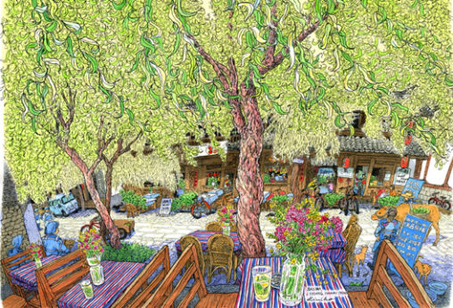 雲南省白沙村。大きな柳の木が風を受けてゆったり揺れている。 家々の前を流れる小川の水音。少数民族の言葉でにこにこ話かけてくれる人々。初めてなのに懐かしさで胸がいっぱい。 白沙村の茶店でお焼きを食べながら。 雲南省・中国