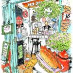 海岸通りの小さなカフェ。本当に小さくて何の店なのか気になって覗いた途端、マスターと目が合ってご挨拶。カウンターのガス台や棚を見せていただいてスケッチ。