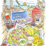 ラハイナでスケッチ途中のランチ。午後の下見を兼ねてシーフードレストラン、ババ・ガンプ・シュリンプで小海老のタコス。 Bubba Gump Shrimp, Lahaina, Maui