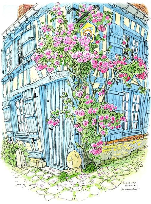 ジェルブロワに行くきっかけになった青い家。300年経つ木の家は少しずつ歪み傾き優しい印象でしたが、描き出せませんでした。3日目の夕方観光客が帰り静かになって、家の中から物音が聞こえました。暮らしの気配を感じて、描きだせました。 Maison du blue Gerberoy,France