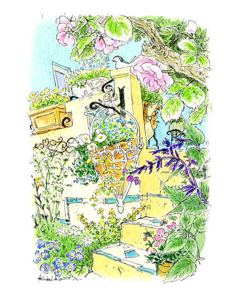 斜面の庭に可愛らしい黄色の手作りの階段。ランダムに張った青いタイルがアクセント。