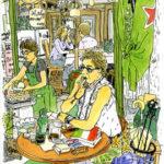 人出で賑わう小町通を進んで行くと、手作りソーセージの店からいい匂いが漂ってくる。 荷物を並べて休憩中の男性をスケッチ。