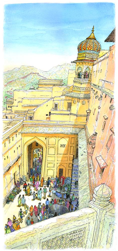 像の背中に揺られてたどり着いたアンベール城は、黄色い色合いの柔らかく優しい印象でした。城内は迷路のような造り。優しいだけではない深い怖さを感じました。蛇遣いの笛の音と人々のざわめきを遠くに聞きながら時間を忘れて描きました。
