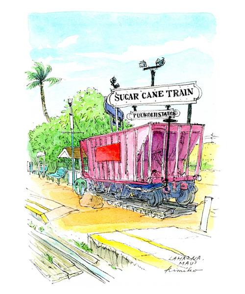 蒸気機関車・シュガー・ケイン・トレイン(サトウキビ列車)は終わってしまい、誰もいない。低いプラットフォームだけの駅。素に戻った感じが気に入り、描いてみました。