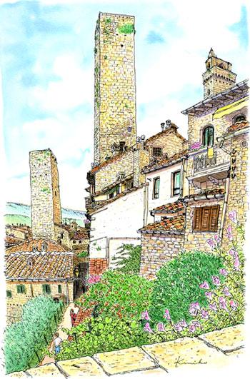 ホテルのダイニングから毎朝眺めた塔のある風景。時代を経て積み上げられた煉瓦や石が柔らかい表情を見せている。飛び交っていたツバメの群れを描こうと思ったら、さっといなくなってしまった。