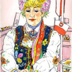 デパートの宝石売り場。琥珀の玉を繋ぐ実演をする女性。ルーマニアの民族衣装が美しい。