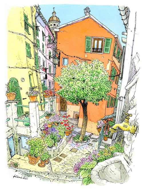 山側の道。石畳の小さな庭に木が一本。静かな生活の場に惹かれてスケッチ。近所の少女が、あれはオレンジの木と教えてくれた。実は生っていない。ノーオレンジと二人で笑う。