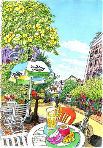 ベトナム・フエの町なか。照りつける日差しを避けてカフェで一休み。表通りから少し離れるとバイクの騒音も少なくなった。ひとときのパラダイス。フエに乾杯。