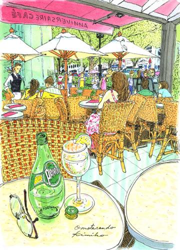 表参道で一度描きたいと思っていたカフェ。いざ近づいてみるとテラス席のお客さんと目が合ってしまい、外からのスケッチを断念。では、と席に座って初スケッチ。ANNIVERSAIRE CAFE