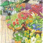 飯田橋のお堀のカフェ。人が通る度、足元のウッドデッキが揺れ、私も揺れる。それが面白くて立って描く。なんだか絵も揺れている。植木鉢が傾いても、デッキが曲がってもそれが今の気分。 右手前の白いコスモスから描きました。CANALCAFE