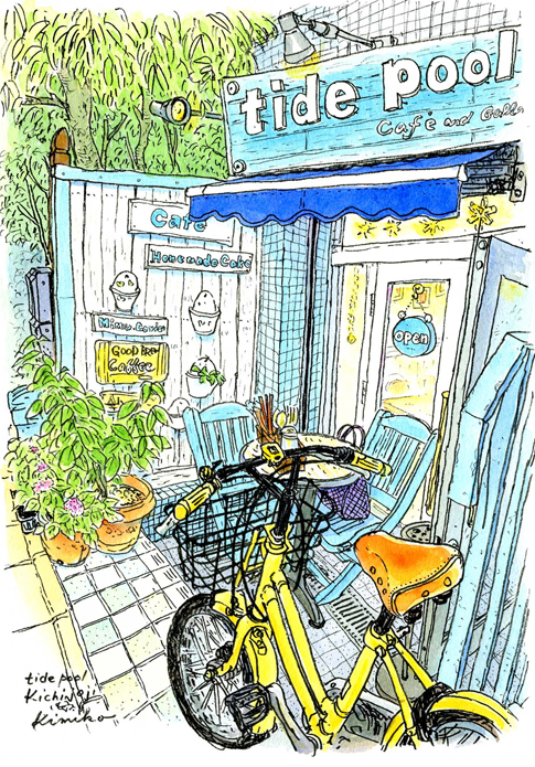 吉祥寺をぶらぶら。スケッチに来たのに、お目当ての場所が開いていない。通り抜けようとした通路に可愛い革のサドルの自転車発見。白と水色のかわいいカフェギャラリーも発見。