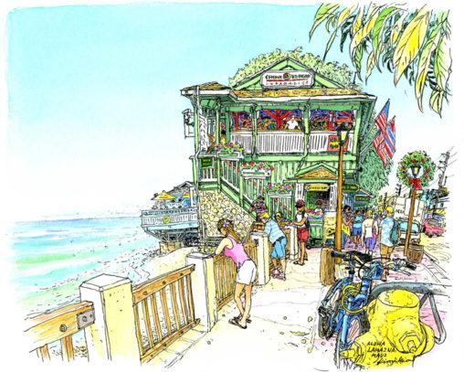 ラハイナのフロントストリートの一角。海側の緑色の建物。 2階の窓からこちらを見ている白シャツの男性が仕事の合間に絵の進み具合を見にきました。気になっていたようで、絵を見て喜んでくださいました。 Cheeseburger in Paradise, Lahaina, Maui