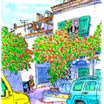 アルルで路地歩き。アパートの中庭に迷い込んだら駐車場。朱橙色のノウゼンカズラが満開。とても静かな午後。