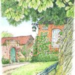 村の入り口付近の小さな広場の、鬱蒼と茂ったマロニエの木。早朝の空気はひんやりとして家々の窓は閉まったまま。コートを着ていても体が冷えてくる。左の家の女性が「家の庭を見る?」と声を掛けてくれました。Gerberoy,France