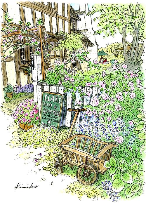 5月のクレアホーム&ガーデン。種がこぼれて庭の外までカモミールの小さな花が咲いている。池の周りにはバターカップの黄色い花。白い柵に絡んだつるバラのやさしいピンク。イギリスの片田舎にきたような気分。