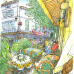 強烈な風ミストラルが吹き付けプラタナスの葉が吹き寄せられる。ヴォルテール広場の店は一斉に窓を閉めパラソルを畳んだ。黄色いカフェの常連らしい初老の男性は、風を気にする様子もなくコーヒーを飲み、道行く人を眺めていた。