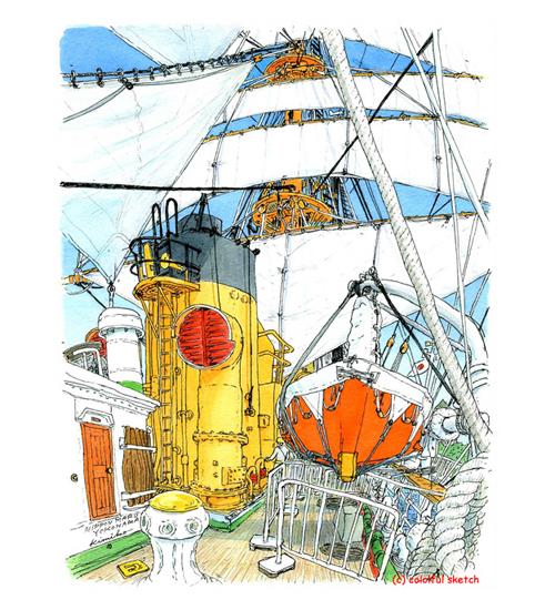 帆船日本丸が全ての帆を揚げる総帆展帆。凛々しく美しい姿に一目ぼれ。デッキに立って見上げるとロープが交差し線の嵐。紙の縦が足りず、マストの先端まで入らなかったけれど大満足 Sail Training Ship NIPPON MARU