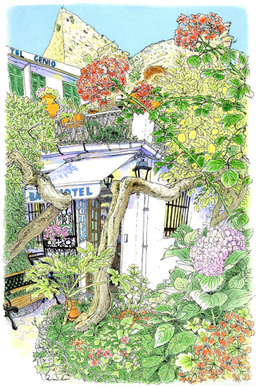 蔦の塔の中の階段を上ると、ぶどう棚のあるテラスに出た。ホテルの入り口には薔薇と古いレモンの木。通る風が通る中庭で、長い午後を過ごしました。