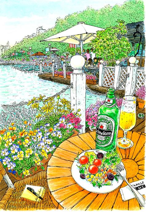 陽気に誘われ、テラス席に座る。春風に乗って向かいのデッキの笑い声が聞こえてくる。陽の光が水面に反射してきらきら。大きな鯉がごぽりと水に沈む。CANAL CAFE