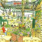 ギャラリーめぐりの途中、花に誘われて階段を下りると、クレヨンハウスのカフェがあった。すこし空気が冷たいけれど外の席でスケッチ。