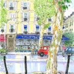 サンジェルマンのお目当てのカフェに向かって急ぎ足。昨日はとっつきにくいと思ったパリの街並みが、そんなに急いでどこに行くの?と声を掛けてきた。描いてもいい?プラタナスからスピードスケッチ。
