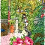 バリ・ウブドで迎えた初めての朝。レストランへ続く通路で椰子木のアーチが迎えてくれる。通路にも石像にも新しい花が飾られている。今日からよろしく。