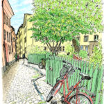 初めての海外スケッチ。舞い上がって、1枚も描けず歩き回った。何もない小道にふっと気持ちが和むのを感じた。自転車と緑の柵、石畳、マロニエの木と描き進める。ここが大好きになった。