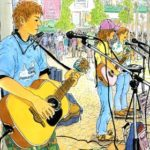 池袋の芸術劇場前の広場で演奏していた彼ら。お互い好きな道で頑張ろう。描き終わる頃には不思議な連帯感が生まれる。