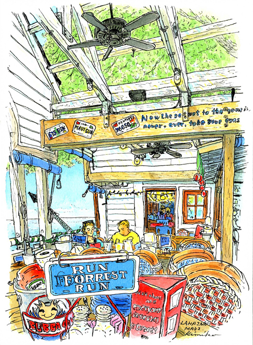 「フォレスト・ガンプ」の海老の養殖場をテーマにしたシーフードレストラン。 カジュアルな雰囲気が楽しい。ラフにカットされた木の梁から青空が広がり、 大きな気が風でゆっくり揺れる、のんびりとした午後。 Bubba Gump Shrimp, Lahaina, Maui