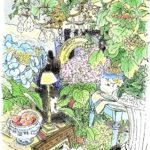 パリでの一日。モンパルナスのジョルジュ・フランソワさんの花屋でスケッチをさせていただく。 狭い店内に花と共に飾られているアンティーク雑貨が温かい雰囲気を醸し出している。花がとても居心地よさそう。花と一緒にクラシック音楽を聴きながら。Georges François Paris