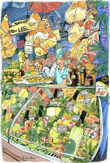最終日の朝メルカトール・チェントラーレ(中央市場)へ。野菜を描くつもりだったのに、この肉屋さんに一目惚れ。あとでどんな大変なことになるかなんて、考えもせずに描き出してしまったのでした。閉店時間の2時ぎりぎりに完成。プロシュートのサンドイッチの美味しかったこと。