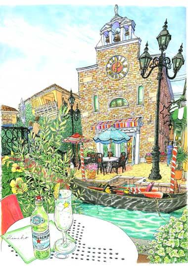 まだまだ暑い秋の日。ヴェネツィアの本物のゴンドラのある、ラ・ヴィータで全紙の縦描きに挑戦。グラス、テーブル、オリーブ、ゴンドラと順調に描き進んだものの、紙の上半分に手が届きません。紙を巻きながら煉瓦を描き進め7時間半。長居させていただきありがとうございました。