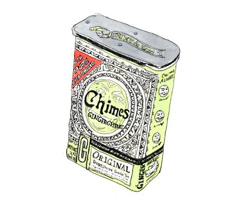 輸入食品のお店で見つけた可愛い缶。ちょっと柔らかいインドネシアの生姜飴でした。これはペパーミント味。Chimus