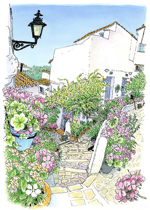 山の上の小さな町カサーレス。坂道を登っていくと鉢植えの花で囲まれた白い家があった。照り返しのきつい石段を何度も往復しながら、おばあさんが水遣りをしていました。