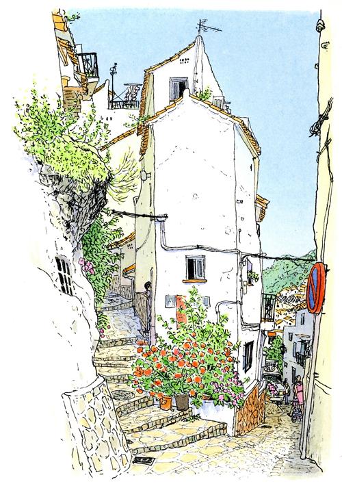 アンダルシア地方の山の上の町カサーレス。教会のある広場から急な坂を上る。坂道と細い階段に挟まれた細長い白い家。真っ青な空に白い洗濯物がはためいていました。
