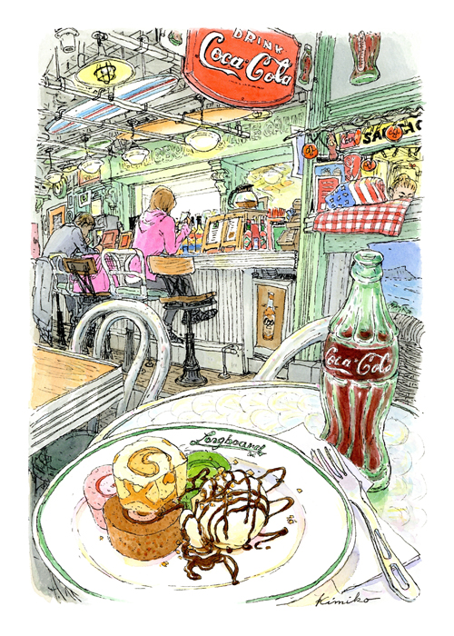 お台場ロングボード・カフェ。カウンター席の客が逆光で浮かぶ。きれいだなと眺めていたらアイスクリームが溶けかけて大慌て。コーラの瓶は初スケッチ。こんな感じでしょうか?