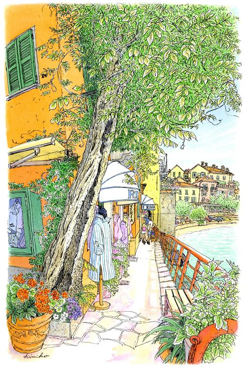 ベラージオの対岸の小さな町バレンナ。船着き場から湖に沿って遊歩道を行く。もじゃもじゃの柳の木と青いストライプのシャツに惹かれてスケッチ。雨宿りしたジェラート屋さんで店員さんとメロドラマを見たのも思い出の一つ。 Varenna