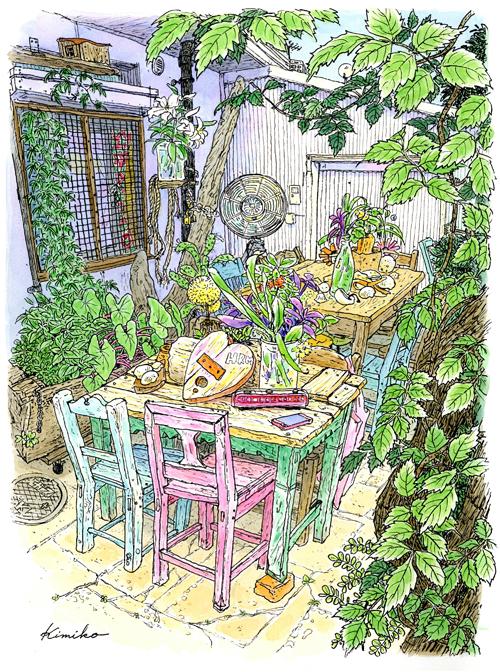 代官山にこんな素敵な空間があった。テーブルの上に流木や貝殻が並び、ブリキ缶のオブジェや不思議な小物が置いてある。カフェかと思ったら隣の洋服屋さんハリウッドランチマーケットのフリースペースだそう。椅子のペンキのはげ具合もいい感じ。