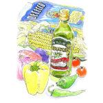パプリカとトウモロコシの黄色、しし唐の緑、ミニトマトの赤、小茄子と玉葱の紫どれもぴかぴかしている。オリーブ油の瓶とパスタの袋も添えて。