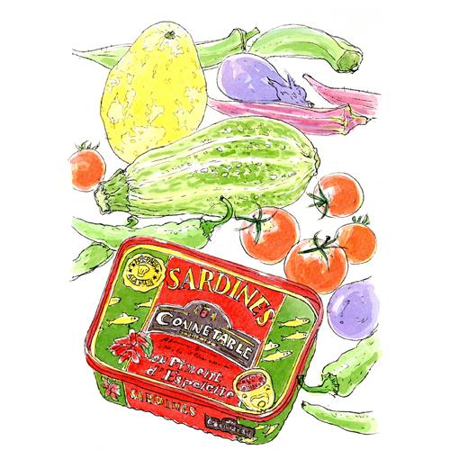 ぱっと目に飛び込んできた赤と緑の缶詰。フランスのオイルサーディンでした。色違いで購入。食べるよりもまずスケッチ。