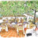 「白いクロウタ鳥のレストラン」と訳すのでしょうか?ミハスの強い日差しを葡萄棚が優しく遮り、涼しくて居心地のよいテラス。赤い床とクッションに真っ白なクロスが映え美しいこと。オーナーの許可を頂きゆっくりスケッチさせていただきました。