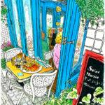 青い窓枠が印象的なサン・マルタン。気軽に入れるフレンチの店は満席。やっと座れた歩道のテーブルは歩行者と袖が擦りあいそうで、少し照れくさい。Saint Martin