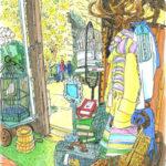 三菱一号館の中庭、ブリックスクエアのリサイクルショップ、パスザバトン。雨宿りさせていただいた店内でスケッチ。明るい黄色のコート。黄色いミモザの花。春を感じて。PASS THE BATON Marunouchi BRICK SQUARE