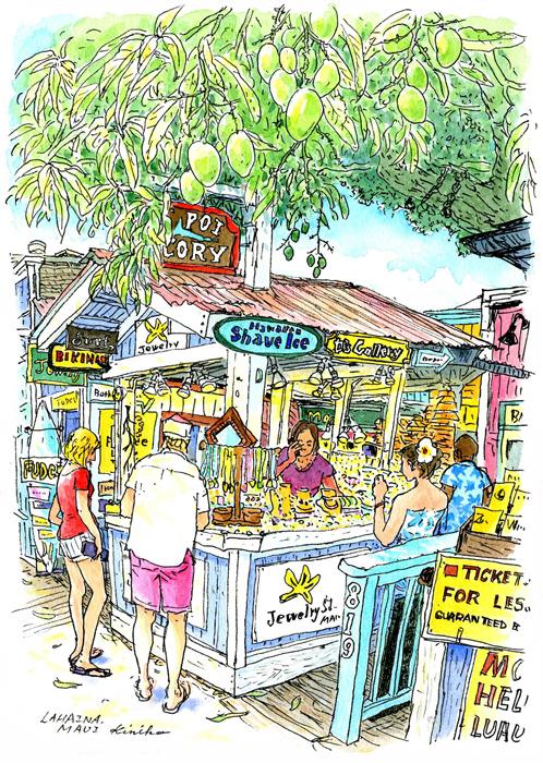 マウイ島ラハイナのフロントストリートの緑色の実。 小屋造りのジュエリー屋さんがスパニッシュマンゴーと教えてくれました。 ぱらぱらと雨が降ってもすぐに陽が差してキラキラしています。 Old Poi Factory Courtyard On Front Street Lahaina