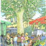 アルルの水曜日の朝市。町の外壁に沿ってずらりとテントが並びプラタナスの巨木の下は、買い物の人でごった返している。驚くほど沢山の種類のトマト、野性味のある果物、不揃いな野菜。隣のワイン屋さんに椅子を勧められ、ワインの味見をしながらスケッチ。